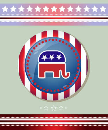 republican party: Election Day 2016 Campaign Ad Flyer. Republican Party Social Promotion Banner. Elephant Symbol Badge. American Flags Symbolic Elements - Red Stripes and White Stars. Digital vector illustration.
