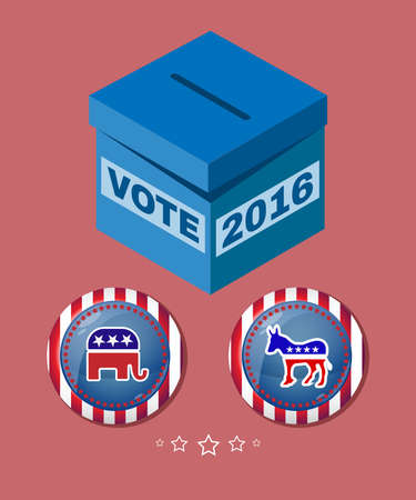 vote box: Election Day 2016 Campaign Ad Flyer. Social Promotion Banner. Elephant versus Donkey. American Flags Symbolic Elements - Red Stripes and White Stars. Vote box digital vector illustration. Illustration