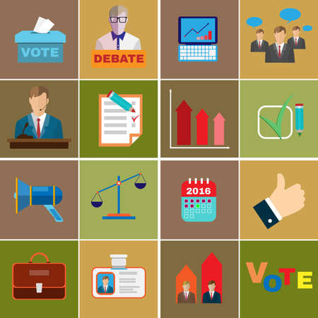 presidential: Presidential Elections and Debates Colorful Vector Icons. Different Elements in Flat Style suited for Elections Campaign. Illustration