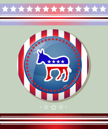 democratic donkey: Election Day 2016 Campaign Ad Flyer. Democratic Party Social Promotion Banner. Donkey symbol Badge. American Flags Symbolic Elements - Red Stripes and White Stars. Digital vector illustration. Illustration