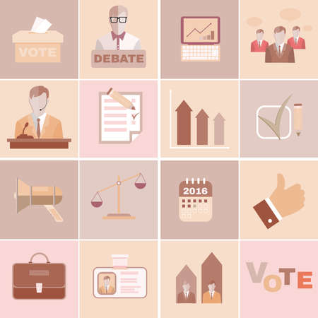 presidential: Presidential Elections and Debates Brown Flat Vector Icons. Different Elements suited for Elections Campaign.