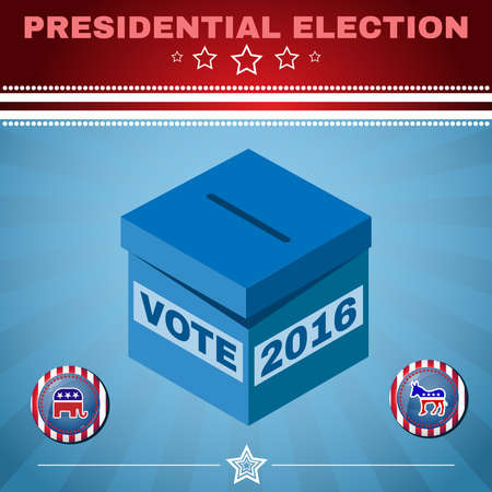 versus: Presidential Election Day 2016 Campaign Ad Flyer. Social Promotion Banner. Elephant versus Donkey. American Flags Symbolic Elements - Red Stripes and White Stars. Vote box digital vector illustration