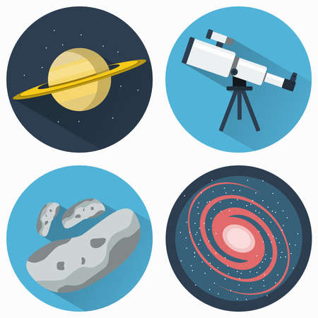 clusters: Astronomy Icons Set. Planets and Galaxies and Meteors. Telescope for viewing galaxies, star clusters, nebulae. Objects used for education manuals and science books, banners and flyers. Illustration