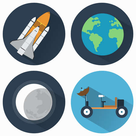 Astronomy Icons Set. Earth and Moon and Rocket. Moon rover for exploring different planets. Objects used for education manuals and science books, banners and flyers.
