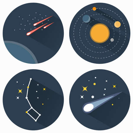 travel star: Space stars constellations, galaxies and comets. Solar system vector flat icons set illustration. Objects used for education astronomy manuals and science books, banners and flyers.