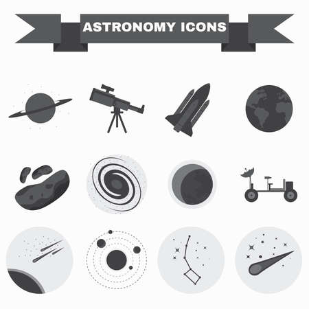 moon walker: Astronomy Flat Vector Icons Set. Science objects for infographics, flyers, banners, brochures, books or booklets. Digital Illustrations on a space theme. Universe, galaxies and stars.