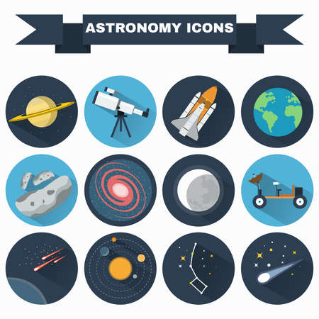 Astronomy Flat Vector Icons Set. Science objects for infographics, flyers, banners, brochures, books or booklets. Digital Illustrations on a space theme. Universe, galaxies and stars.