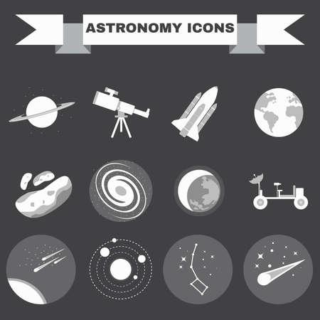 universum: Astronomie Wohnung Vektor-Icons gesetzt. Wissenschaft Objekte für Infografiken, Flyer, Banner, Broschüren, Bücher oder Broschüren. Digital Illustrations auf einem Raumthema. Universum, Galaxien und Sterne.