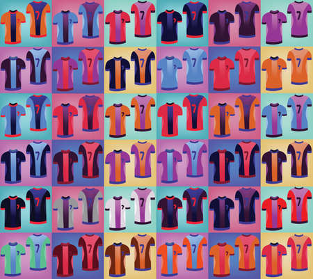 sports uniform: Soccer Sports Uniform Set. Various Colorful T-shirts for Football Players. Sportswear Fashion illustration on a colorful backdrop. Isolated vector objects of clothes. Illustration