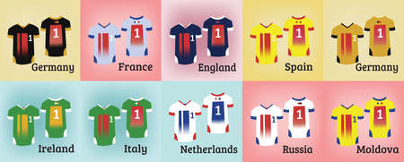 sports uniform: Soccer Sports Uniform Set. Various Colorful T-shirts for Football Teams. Sportswear Fashion illustration on a colorful backdrop. Isolated vector objects of clothes. Illustration
