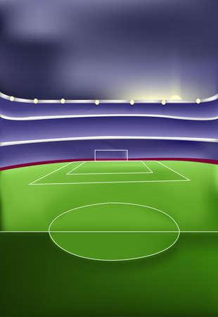 Stadion van het voetbal met Green Grass speelveld. Sport thema vector digitale afbeelding. Portret georiënteerde sport illustratie voor een flyer of banner.