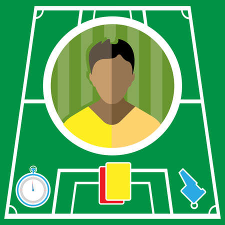 Soccer player flat circular icon on a green playground. Vector digital illustration.