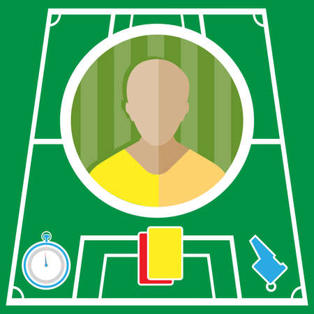 playfield: Soccer player flat circular icon on a green playground. Vector digital illustration.