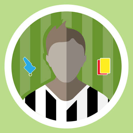 playfield: Soccer Referee flat circular icon on a green playground. Referee Tools Used in Soccer Game - Whistle and Yellow and Red Cards. Vector digital illustration.
