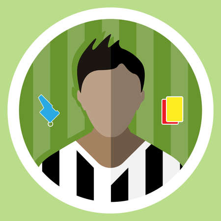 judge players: Soccer Referee flat circular icon on a green playground. Referee Tools Used in Soccer Game - Whistle and Yellow and Red Cards. Vector digital illustration.