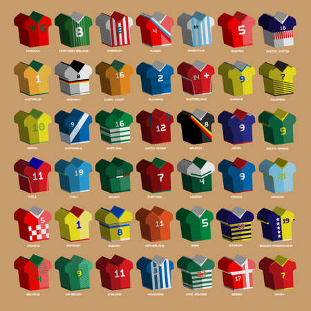 sportswear: Football Soccer Baseball Volleyball Team Sportswear Uniform. Stylish design for players t-shirts front view. Vector Illustration.