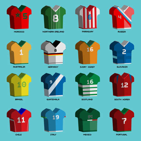 Football Soccer Baseball Volleyball Team Sportswear Uniform. Stylish design for players t-shirts front view. Vector Illustration.