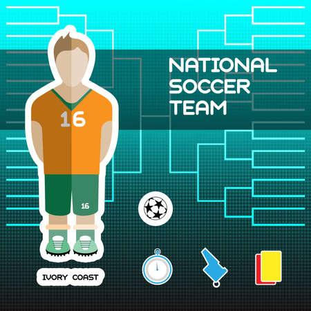soccer team: National Soccer Team - Ivory Coast. Football Players Scoreboard. Vector digital illustration. Soccer tournament sheet. Visual graphic presentation.