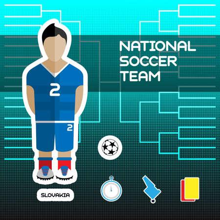 tournament chart: National Soccer Team - Slovakia. Football Players Scoreboard. Vector digital illustration. Soccer tournament sheet. Visual graphic presentation.