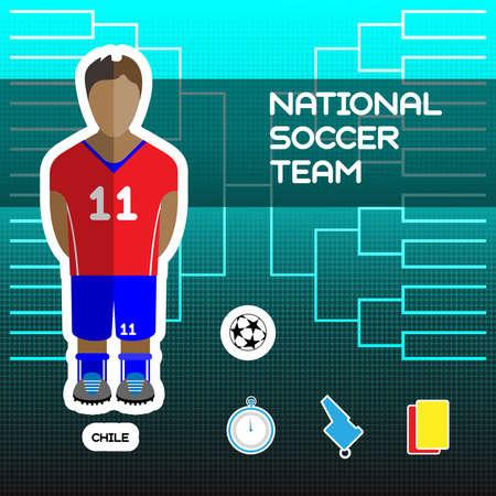 soccer team: National Soccer Team - Chile. Football Players Scoreboard. Vector digital illustration. Soccer tournament sheet. Visual graphic presentation.