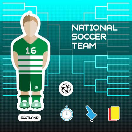 tournament chart: National Soccer Team - Scotland. Football Players Scoreboard. Vector digital illustration. Soccer tournament sheet. Visual graphic presentation. Illustration