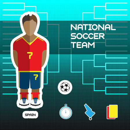 tournament chart: National Soccer Team - Spain. Football Players Scoreboard. Vector digital illustration. Soccer tournament sheet. Visual graphic presentation. Illustration