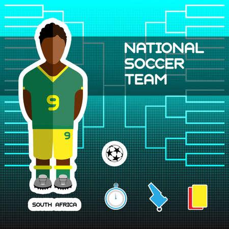 tournament chart: National Soccer Team - South Africa. Football Players Scoreboard. Vector digital illustration. Soccer tournament sheet. Visual graphic presentation. Illustration