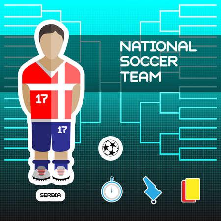 soccer team: National Soccer Team - Serbia. Football Players Scoreboard. Vector digital illustration. Soccer tournament sheet. Visual graphic presentation.