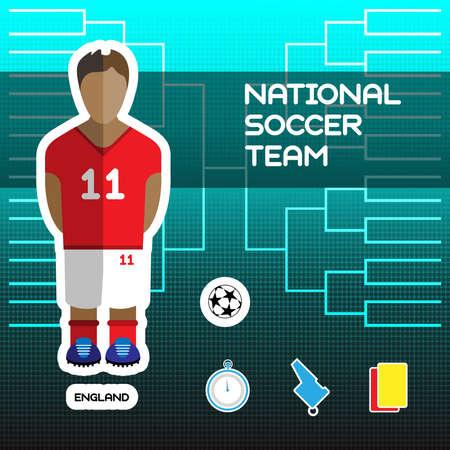 soccer team: National Soccer Team - England. Football Players Scoreboard. Vector digital illustration. Soccer tournament sheet. Visual graphic presentation. Illustration