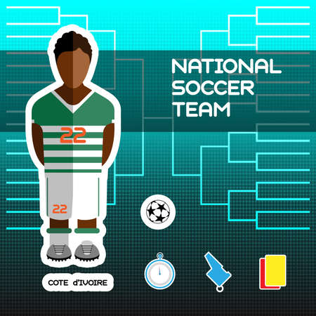 soccer team: National Soccer Team - Cote dIvoire. Football Players Scoreboard. Vector digital illustration. Soccer tournament sheet. Visual graphic presentation. Illustration