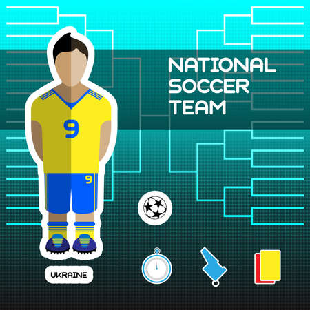 tournament chart: National Soccer Team - Ukraine. Football Players Scoreboard. Vector digital illustration. Soccer tournament sheet. Visual graphic presentation.