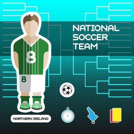 tournament chart: National Soccer Team - Northern Ireland. Football Players Scoreboard. Vector digital illustration. Soccer tournament sheet. Visual graphic presentation.