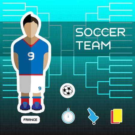 tournament chart: Soccer Team - France. Football Players Scoreboard. Vector digital illustration. Soccer tournament sheet. Visual graphic presentation. Illustration