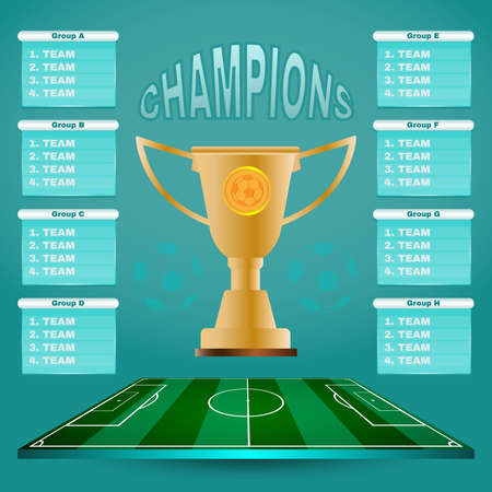 Soccer Champions Scoreboard Template on Light Backdrop. Sports Tournament Chart for Groups and Teams. Soccer Playfield Digital Vector Illustration. Illustration