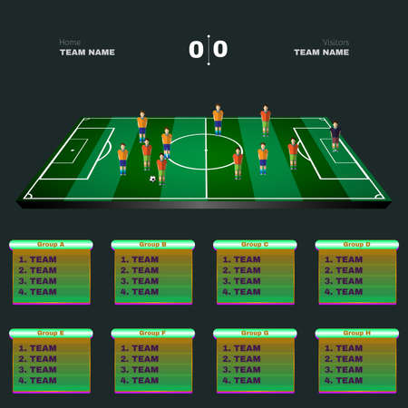 playfield: Soccer Playground Game Statistics. Sports Groups and Teams Tables. Football Players Positions on a Playfield. Digital Vector Scoreboard Illustration. Illustration