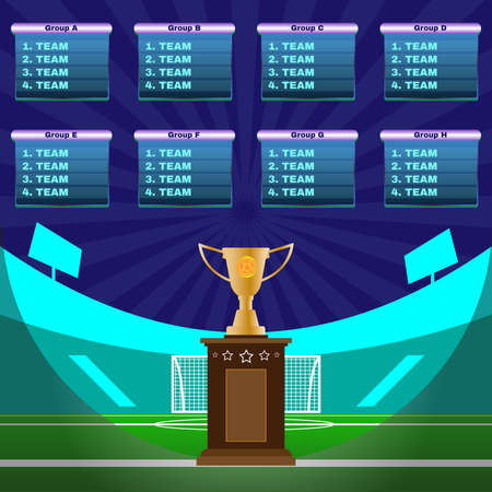playfield: Soccer Champions Scoreboard Template on Dark Backdrop. Sports Tournament Chart for Groups and Teams. Soccer Playfield with Gates on a Stadium. Digital Vector Illustration.