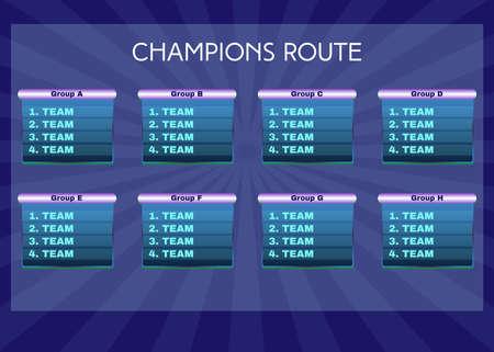 sports team: Champions Route Illustration. Soccer Match Table Statistics on Blue Backdrop. Digital Vector Sports Illustration.