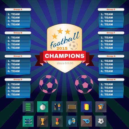 tournament chart: Football 2015 Champions. Flyer Soccer Groups and Teams Statistics Tables. Sports Icons in Rectangular Frames. Digital Vector Illustration.
