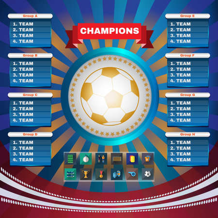 Football Champions. Flyer Soccer Groups and Teams Statistics Tables. Sports Icons in Rectangular Frames. Digital Vector Illustration.