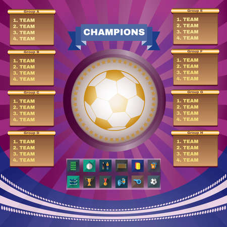 tournament chart: Football Champions. Flyer Soccer Groups and Teams Statistics Tables. Sports Icons in Rectangular Frames. Digital Vector Illustration.