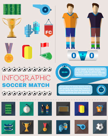 Infographic Soccer Match. Football Championship Flyer. Sports Vector Icons Set. Digital Illustration. Football Elements. Digital Illustration. Illustration
