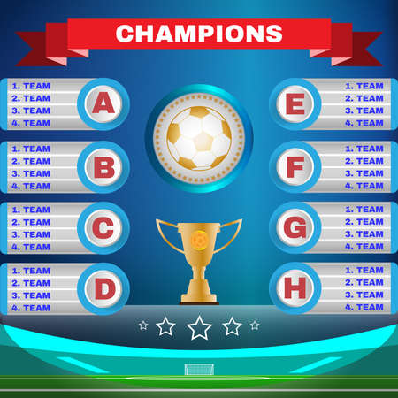 tournament chart: Soccer Champions Scoreboard Template on Blue Backdrop. Sports Tournament Chart for Groups and Teams. Soccer Playfield Digital Vector Illustration.