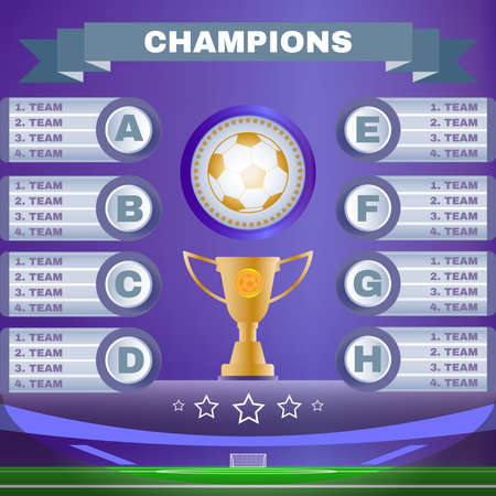 playfield: Soccer Champions Scoreboard Template on Purple Backdrop. Sports Tournament Chart for Groups and Teams. Soccer Playfield Digital Vector Illustration.