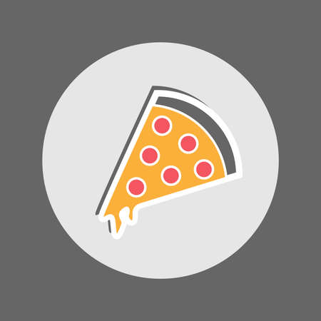 pepperoni pizza: Pepperoni Pizza with Cheese. Slice of Hot Yummy Pizza. Restaurant Menu Flat Icon. Vector Digital Illustration. Illustration
