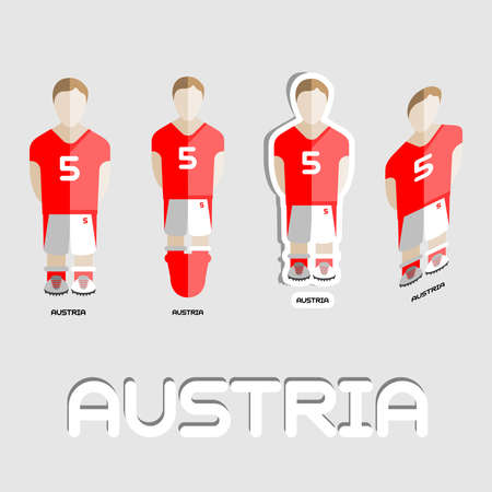 soccer team: Austria Soccer Team Sportswear Template. Front and Back View of Outdoor Activity Sportswear for Men and Boys. Digital background vector illustration. Stylish design for t-shirts, shorts and boots.