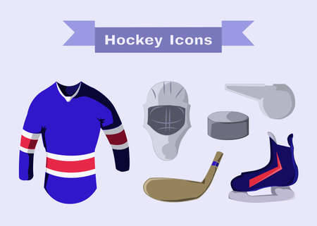 sportswear: Hockey Sportswear Illustration. Helmet with Hockey-stick and Pullover and Puck and Whistle. Hockey Game Accessories Digital Vector Illustration.