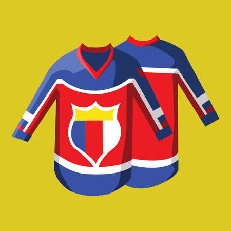 hoody: Hockey Pullover Illustration on Yellow Backdrop. Activity Sportswear for Men and Boys. Stylish design for sports hoody. Hockey Game Accessories Digital Vector Illustration. Illustration