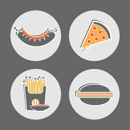 pepperoni pizza: Snacks. Sausage with Ketchup and Mayo. Pepperoni Pizza with Cheese. French Fries Packet with saucer of ketchup. Cheeseburger. Fast food Restaurant Cafe Menu Flat vector Icon set