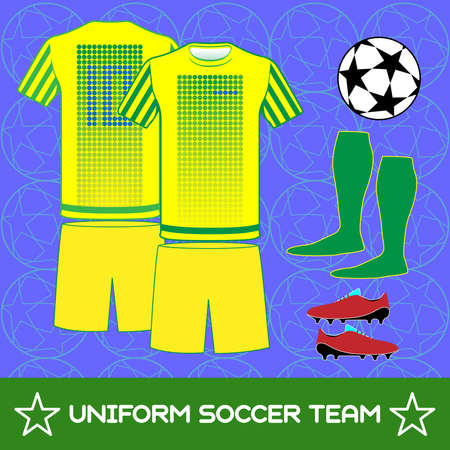 sportswear: Soccer Team Sportswear Template. Front and Back View of Outdoor Activity Sportswear for Men and Boys. Digital background vector illustration. Stylish design for t-shirts, shorts and boots.