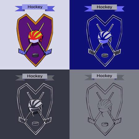 hurl: Hockey Badge Illustration. Helmet with Hockey-sticks and Puck. Sports Emblem for a icon. Digital Vector Illustration.